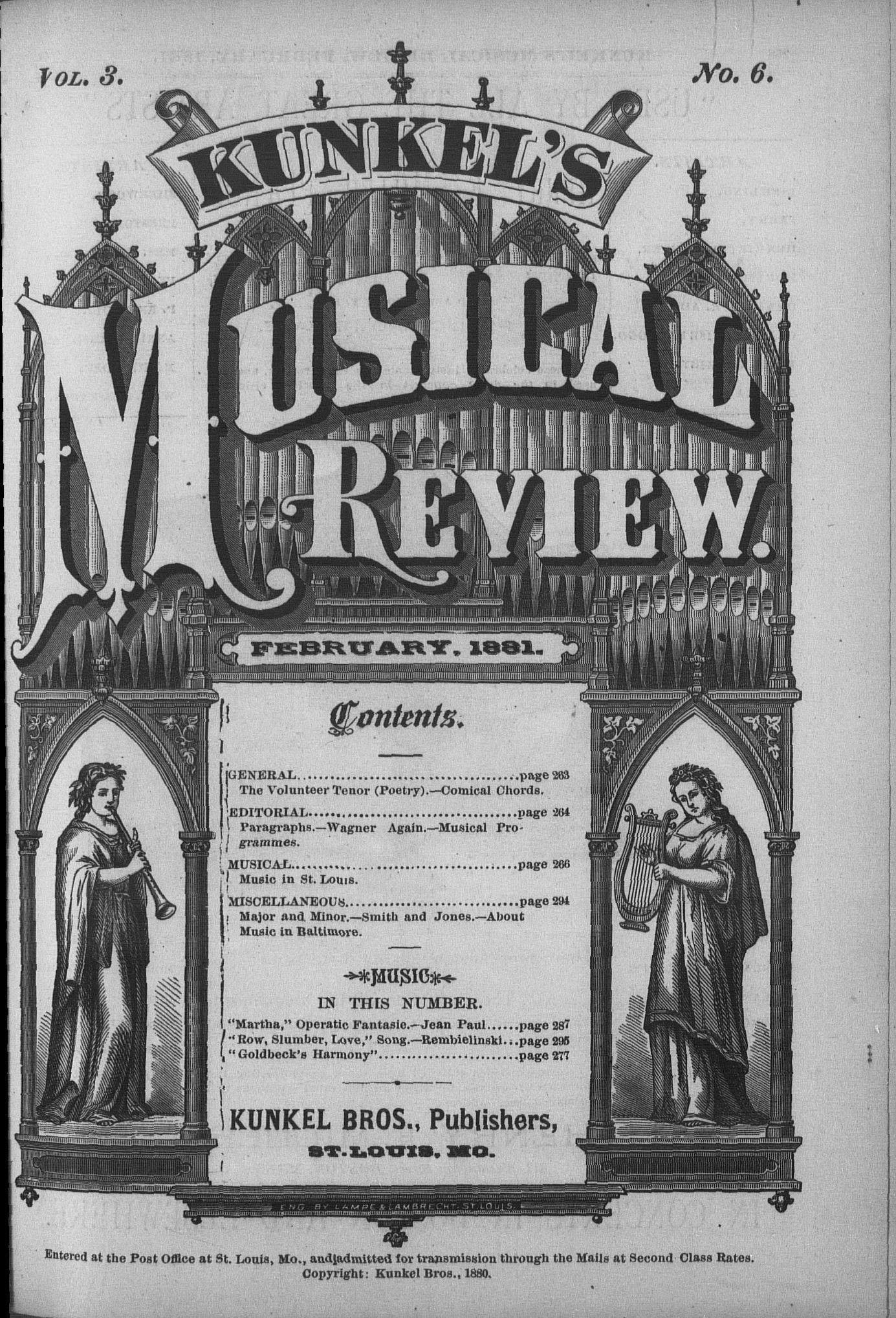 Kunkel's Musical Review, Vol  III, no  6, February, 1881 | Alexander