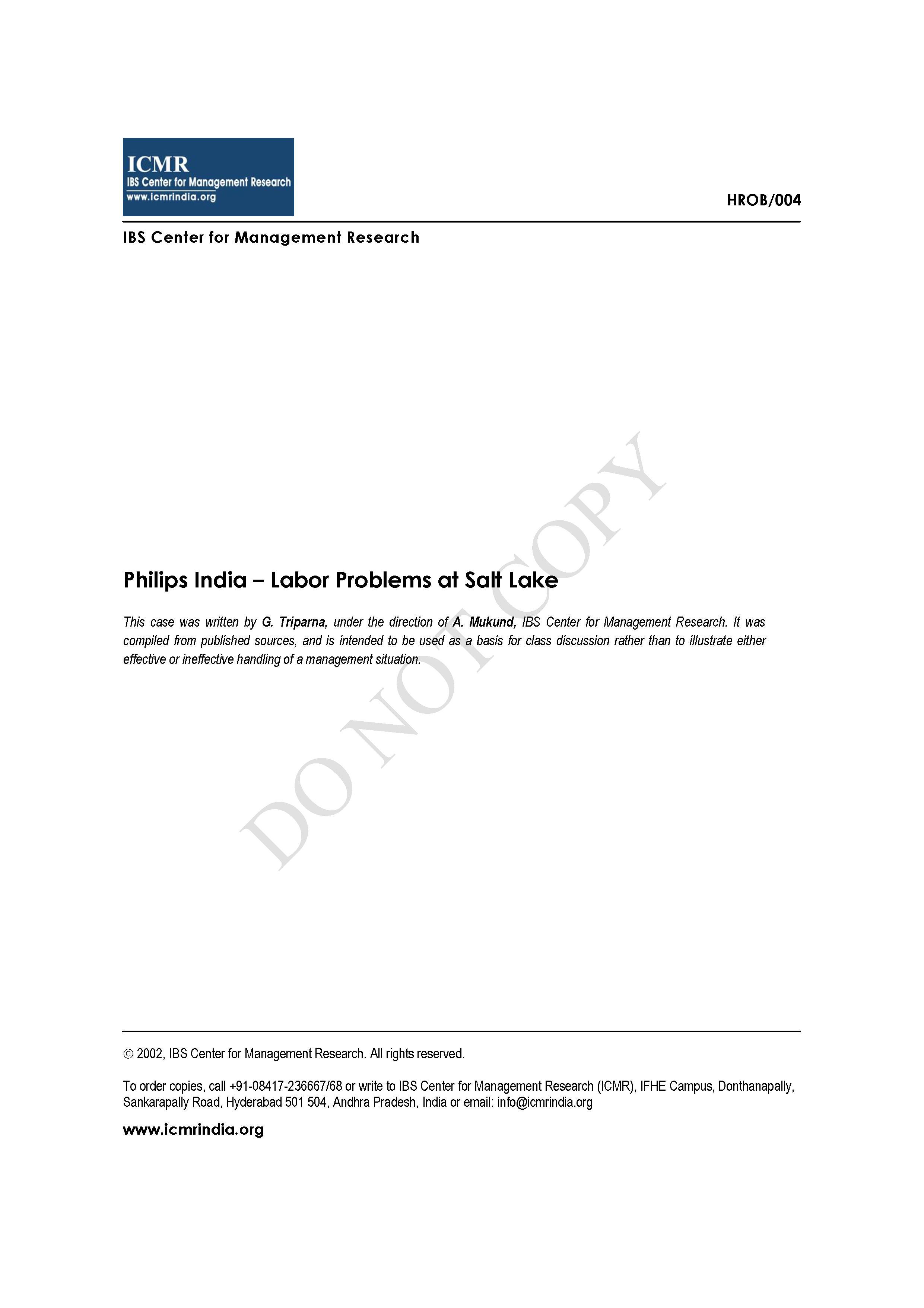 Philips India - Labor Problems at Salt Lake | Alexander Street, a