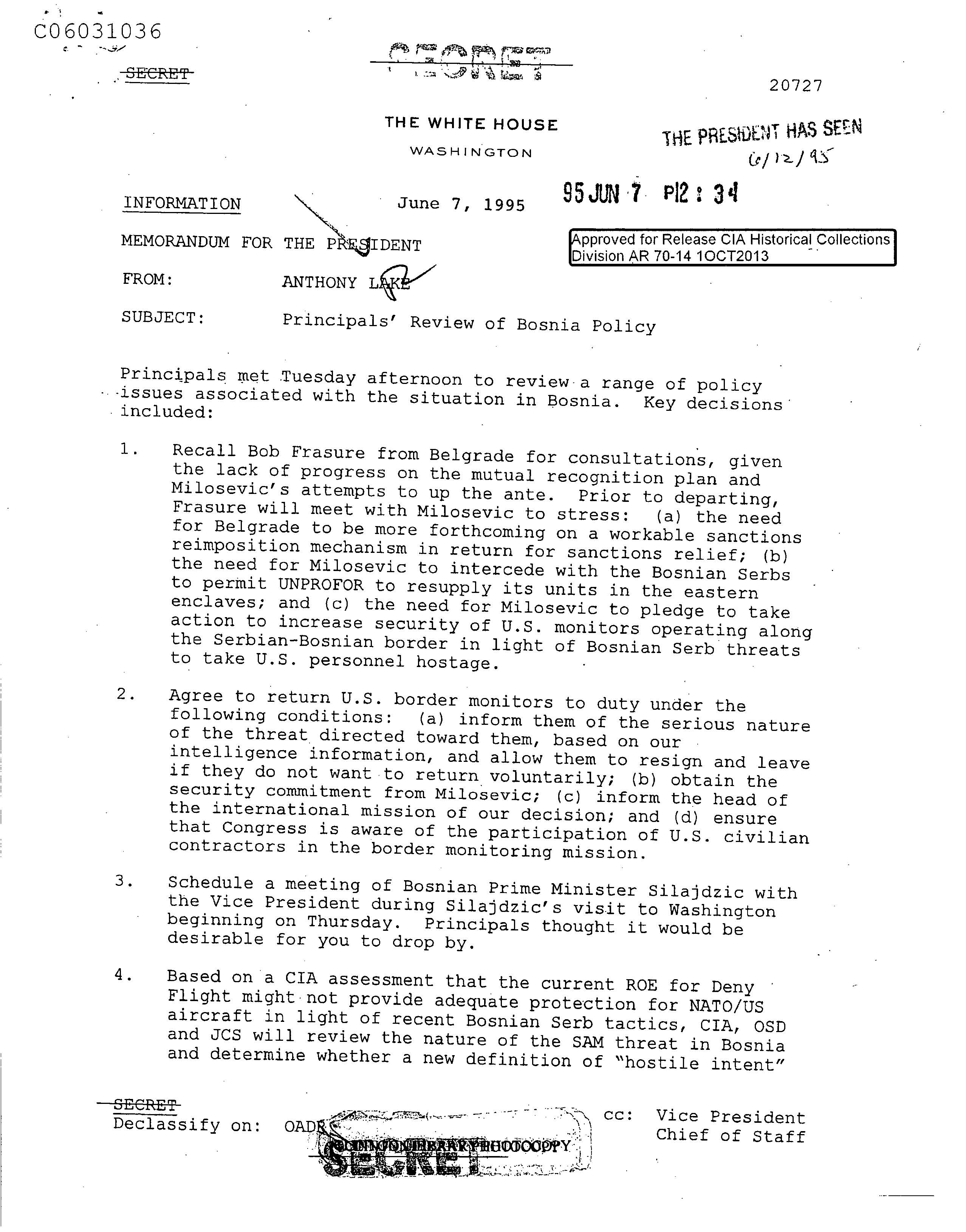 Anthony Lake to President Clinton re: Principals' Review of Bosnia