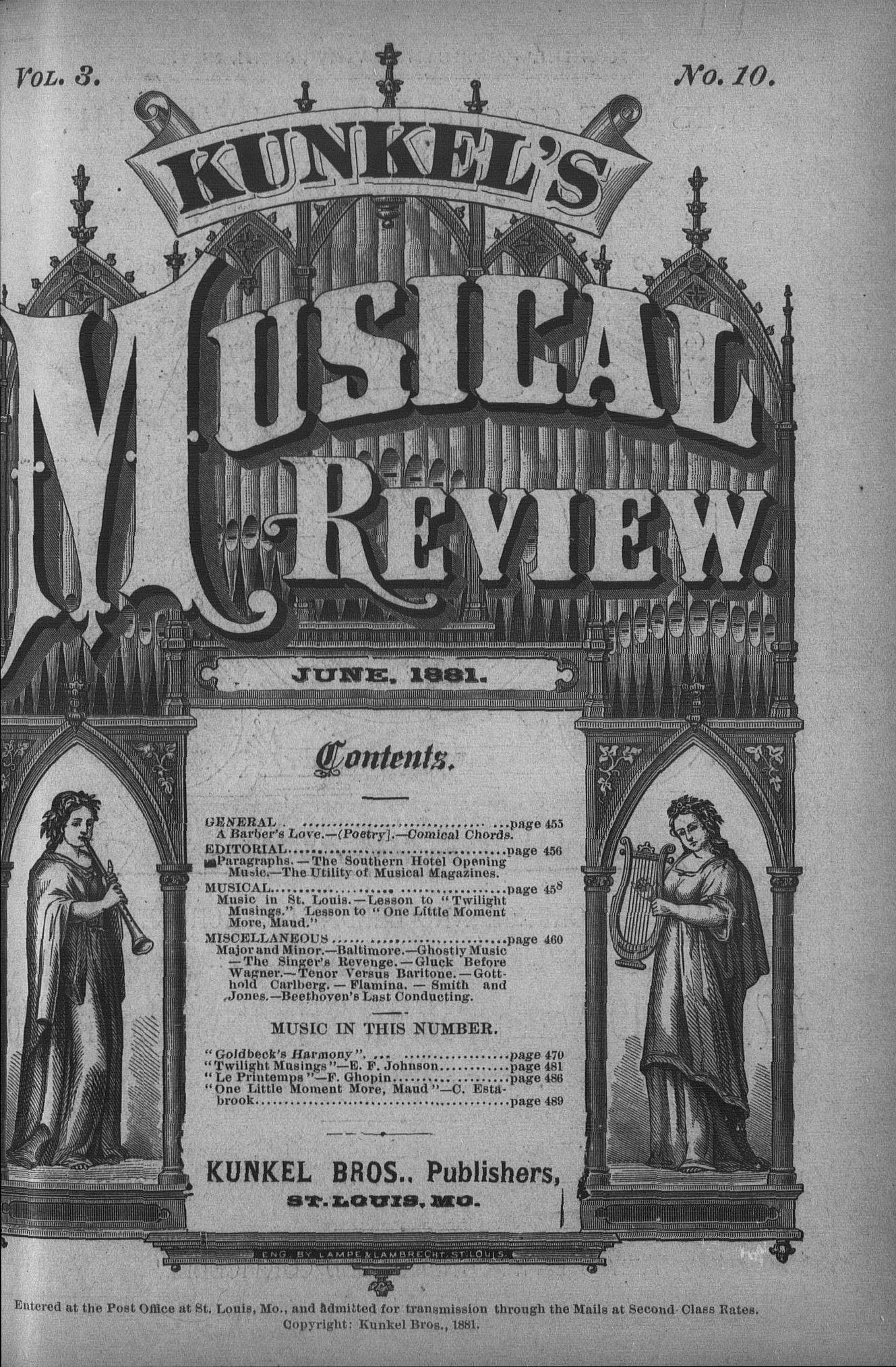 Kunkel's Musical Review, Vol  III, no  10, June, 1881