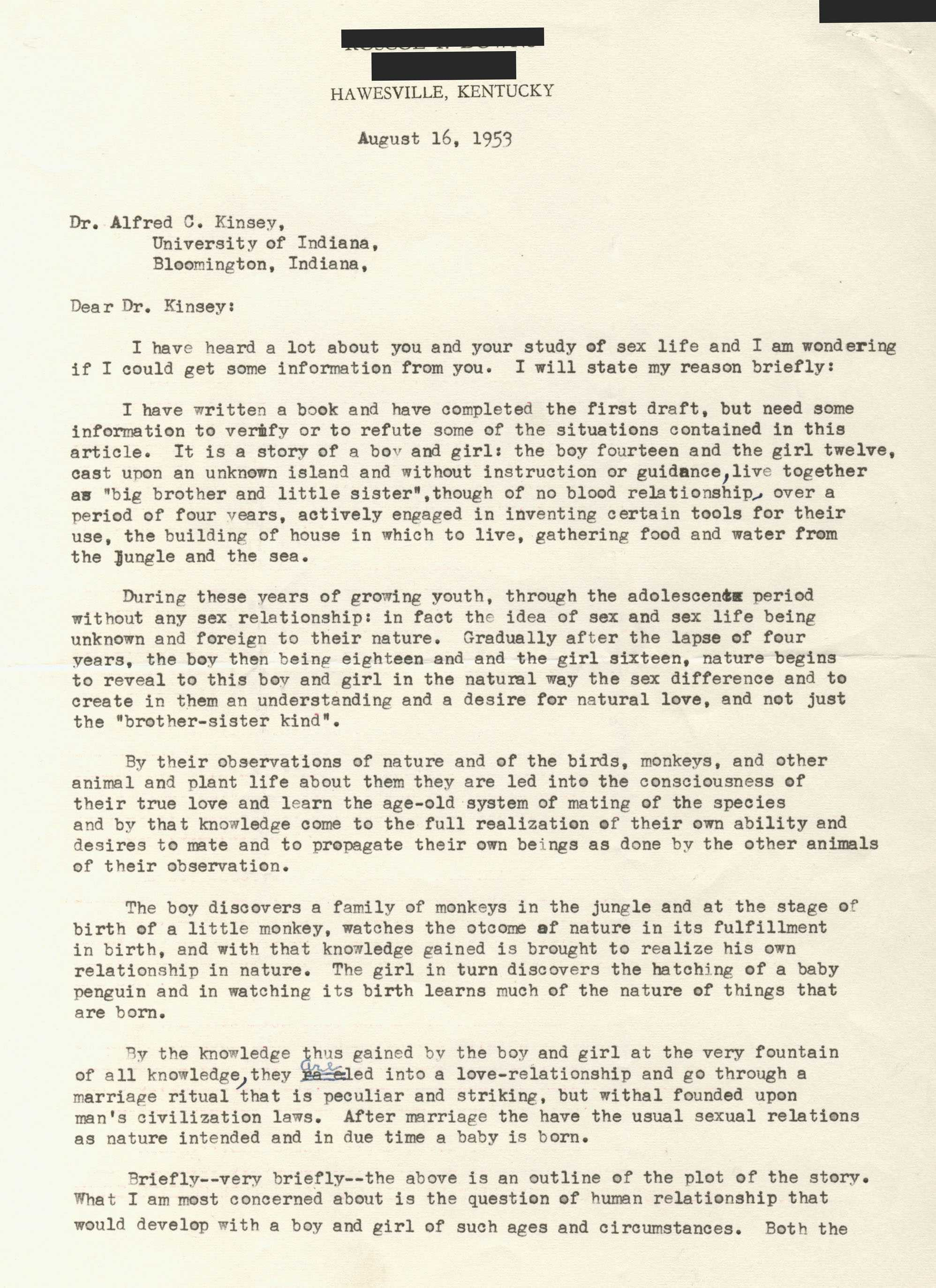 Letter from Anonymous to Dr  Alfred C  Kinsey, August 16