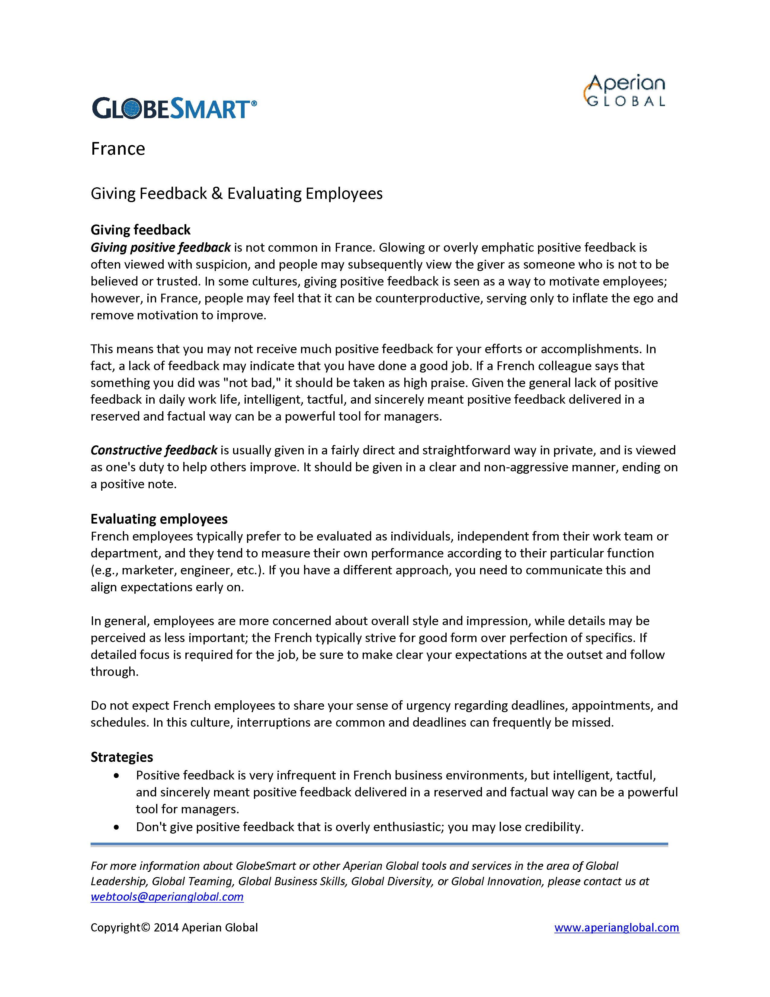 France: Giving Feedback & Evaluating Employees | Alexander