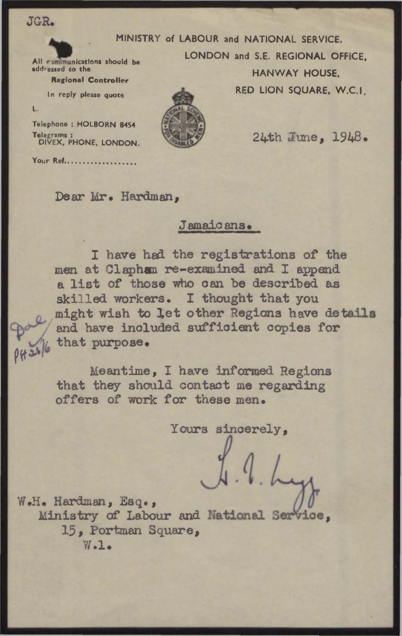 Ministry of Labour and National Service, London and S E