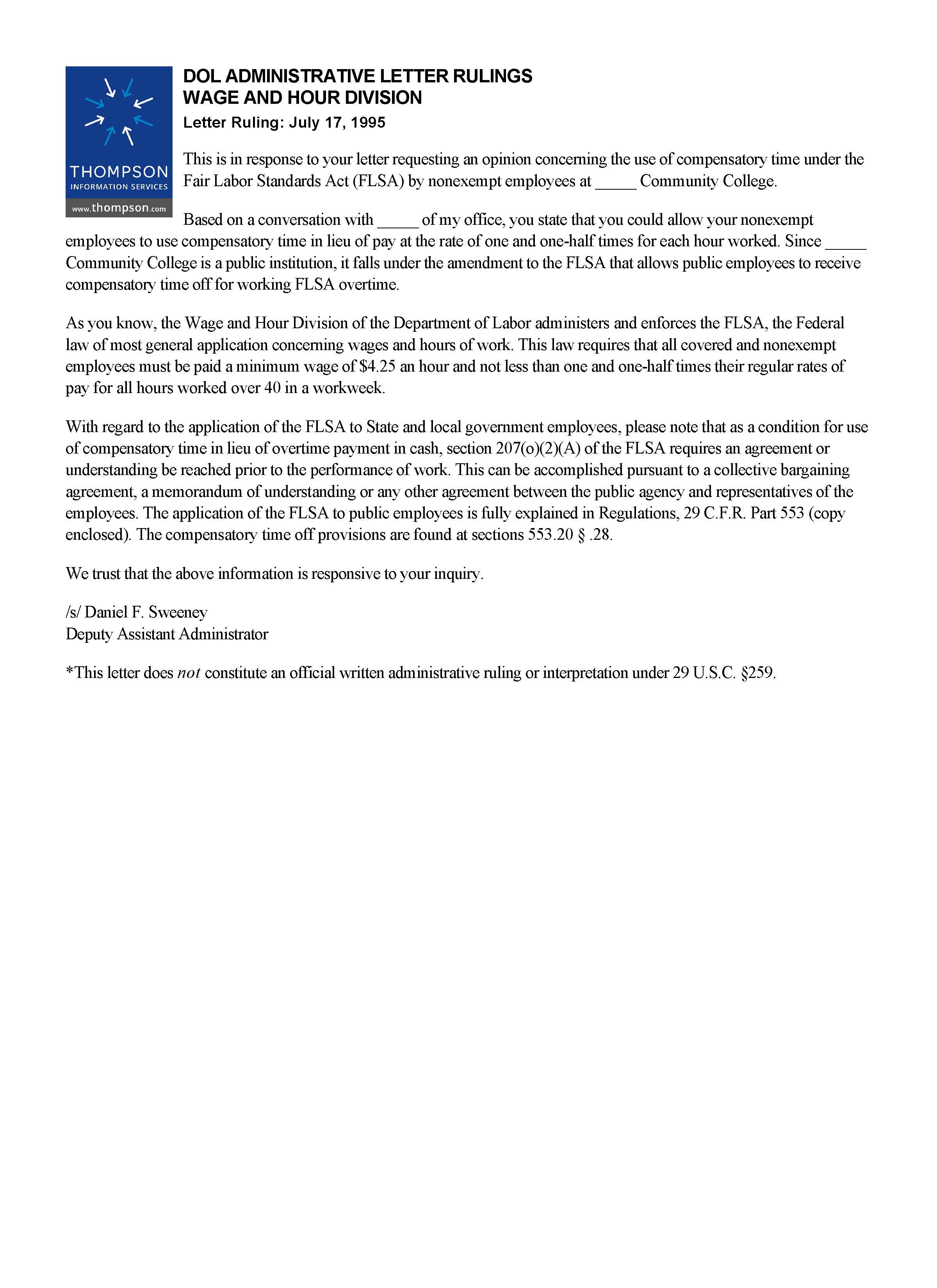 Letter Ruling: July 17, 1995 | Alexander Street, a ProQuest