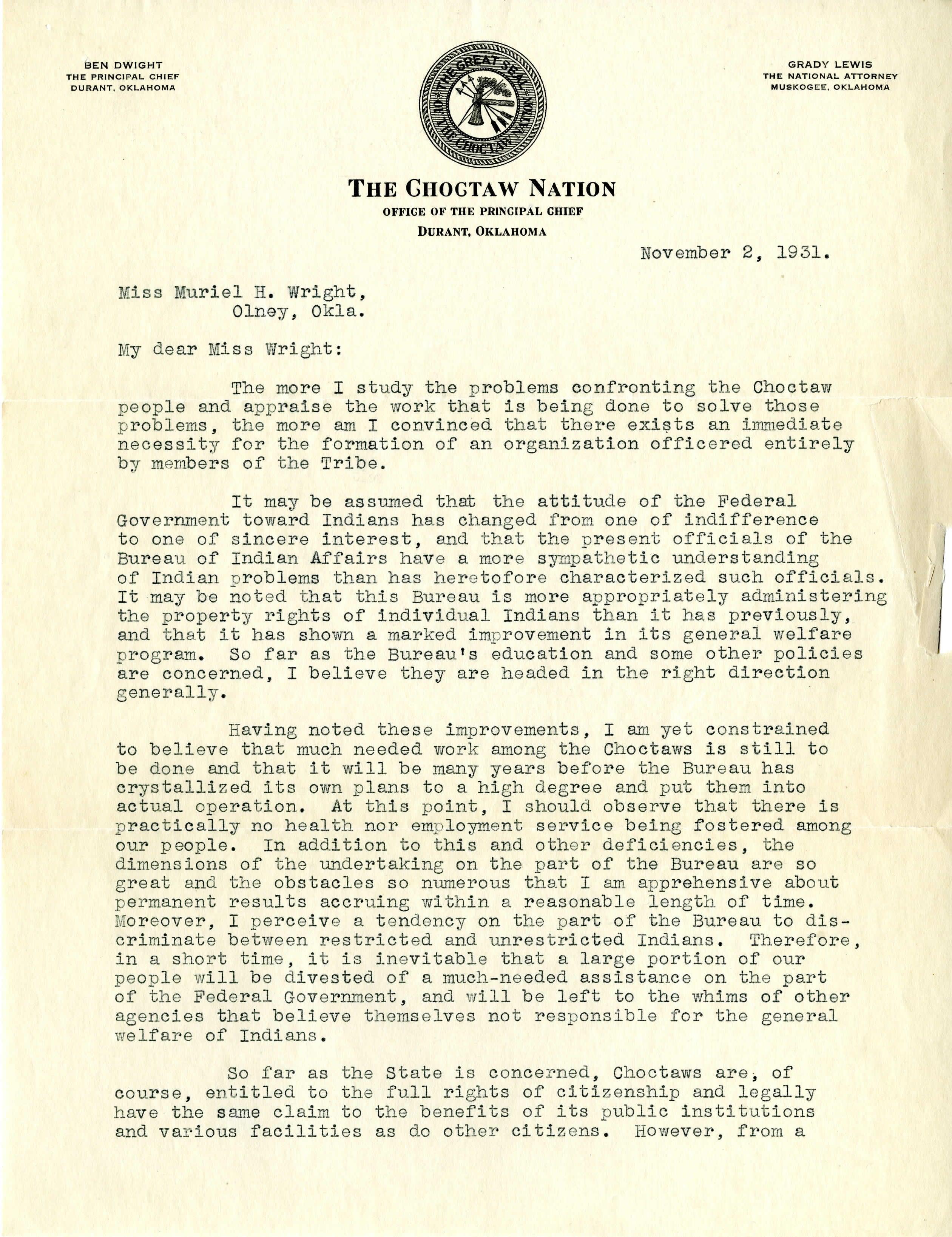 Ben Dwight to Muriel Wright: November 2, 1931 | Alexander