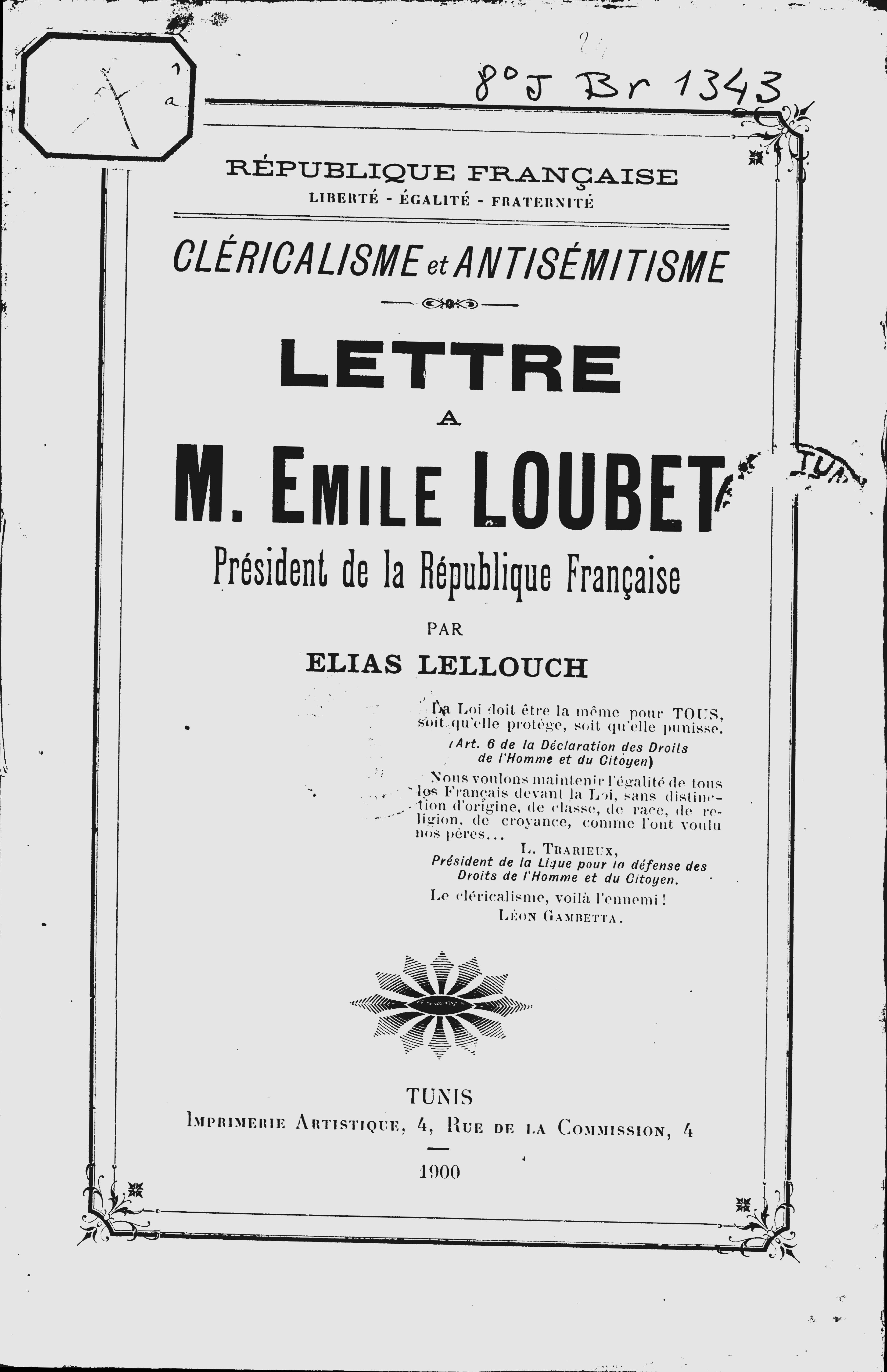 Cléricalisme Et Antisémitisme Lettre à M Emile Loubet
