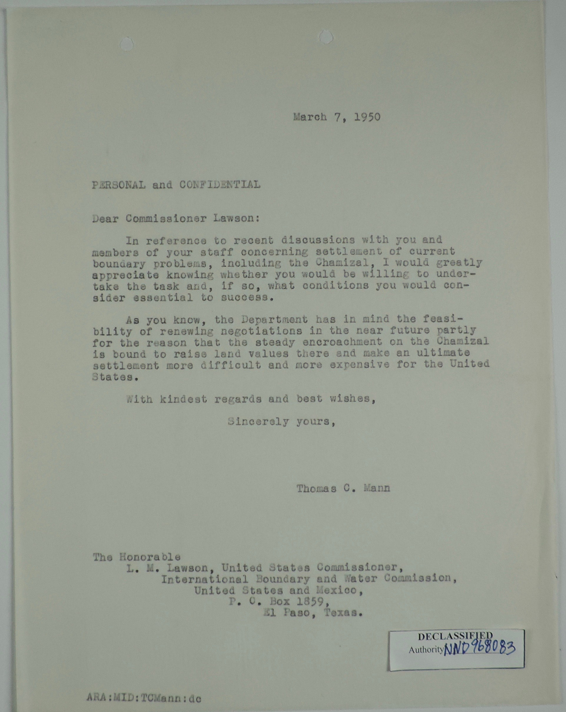 Confidential Letter from Thomas C  Mann to L  M  Lawson re