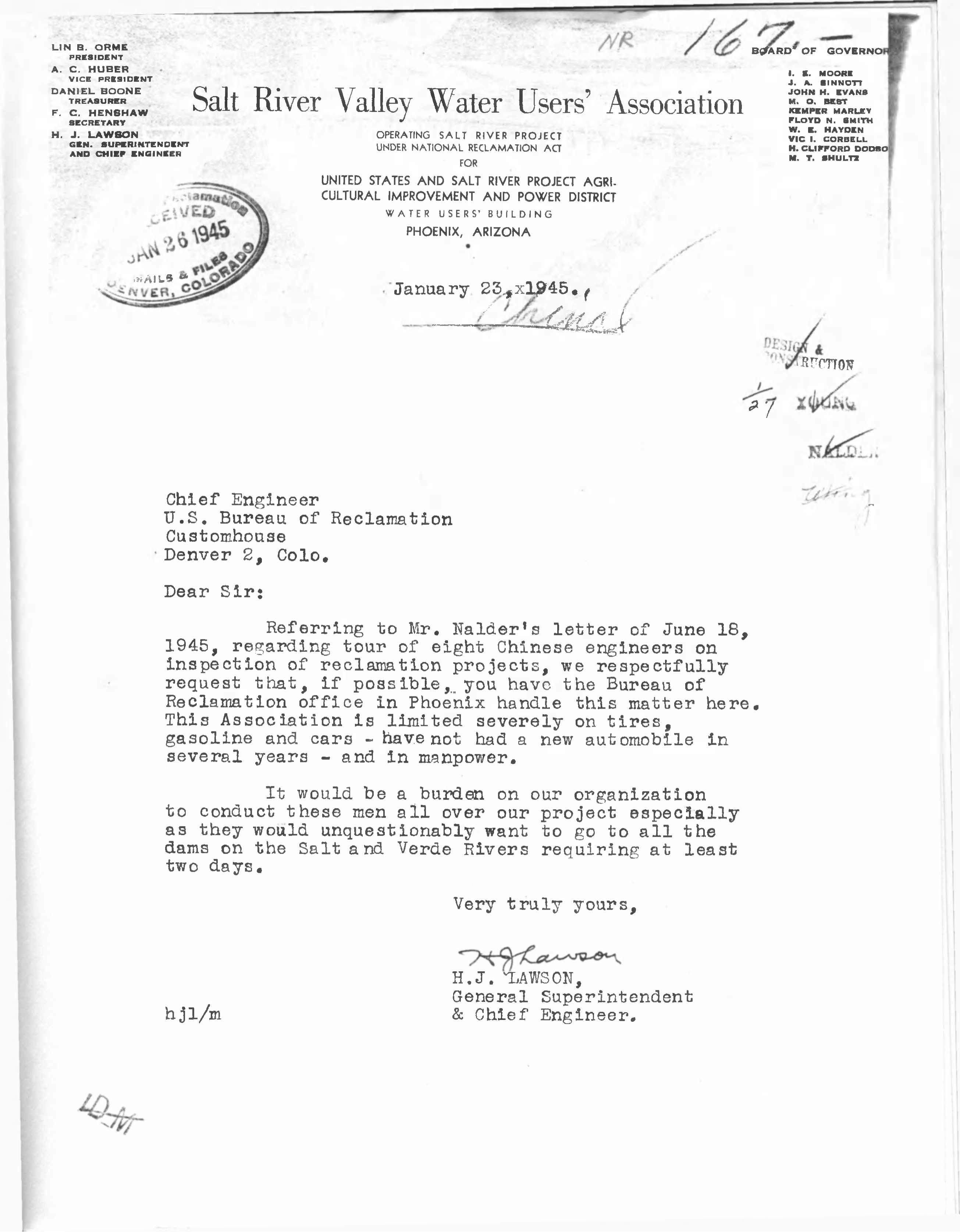 Letter from H  J  Lawson to Chief Engineer [U S  Bureau of