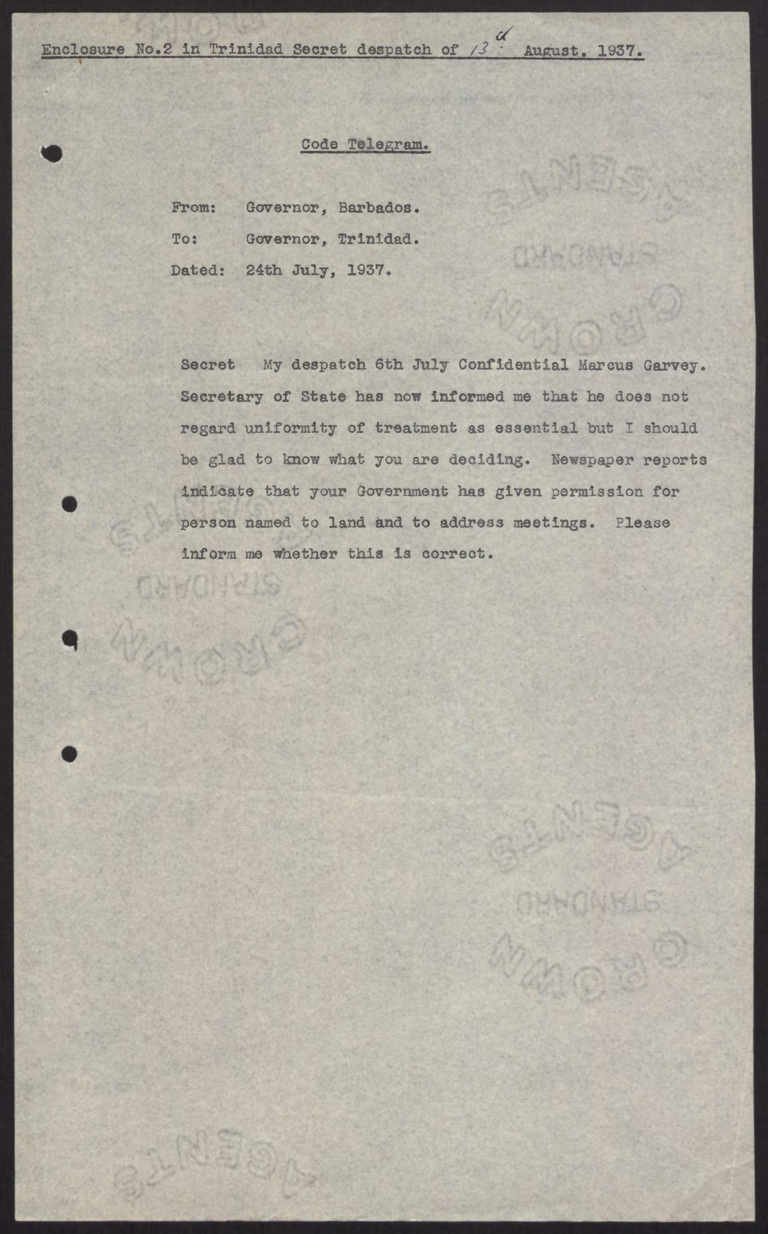 Copy of Code Telegram from Governor of Barbados to Governor