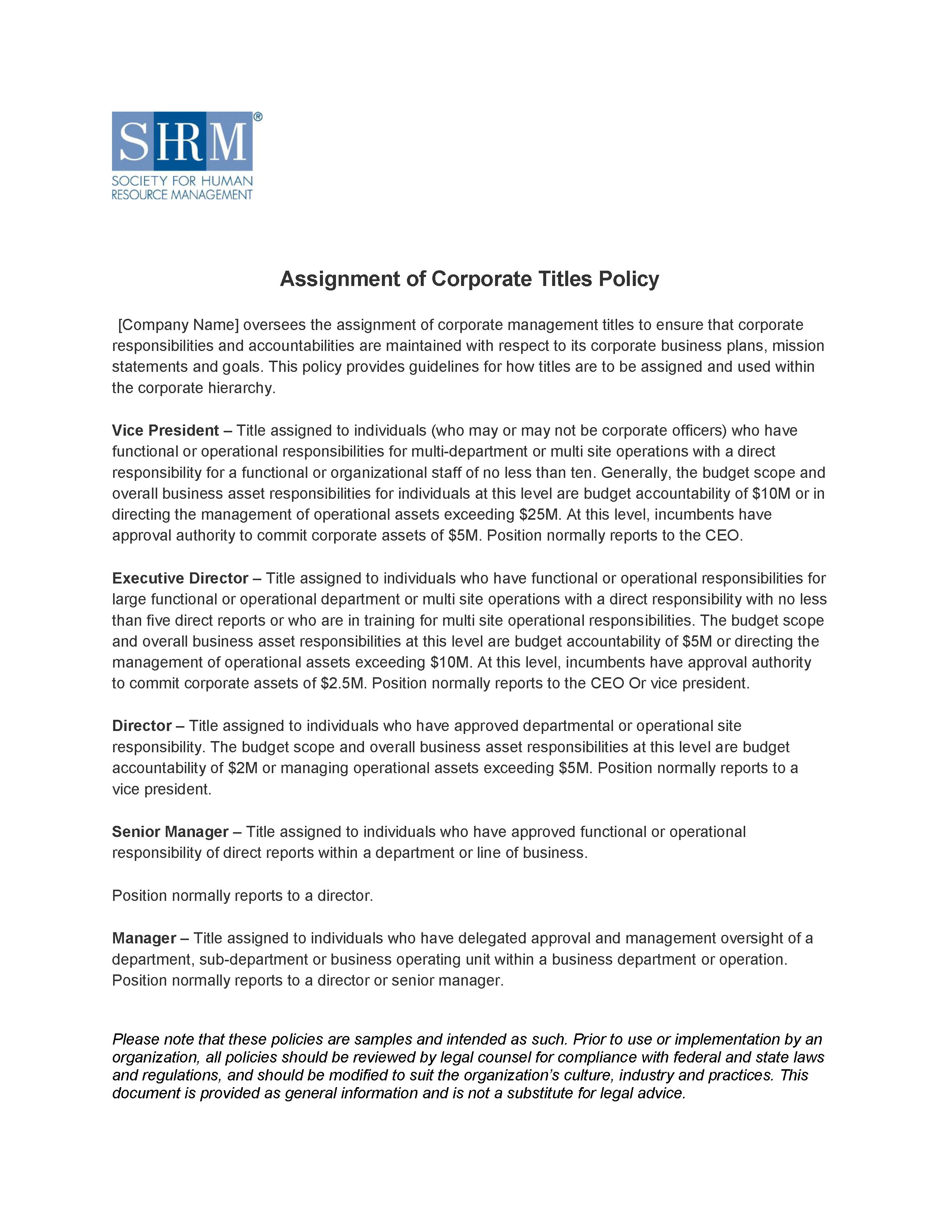 Assignment of Corporate Titles Policy | Alexander Street, a