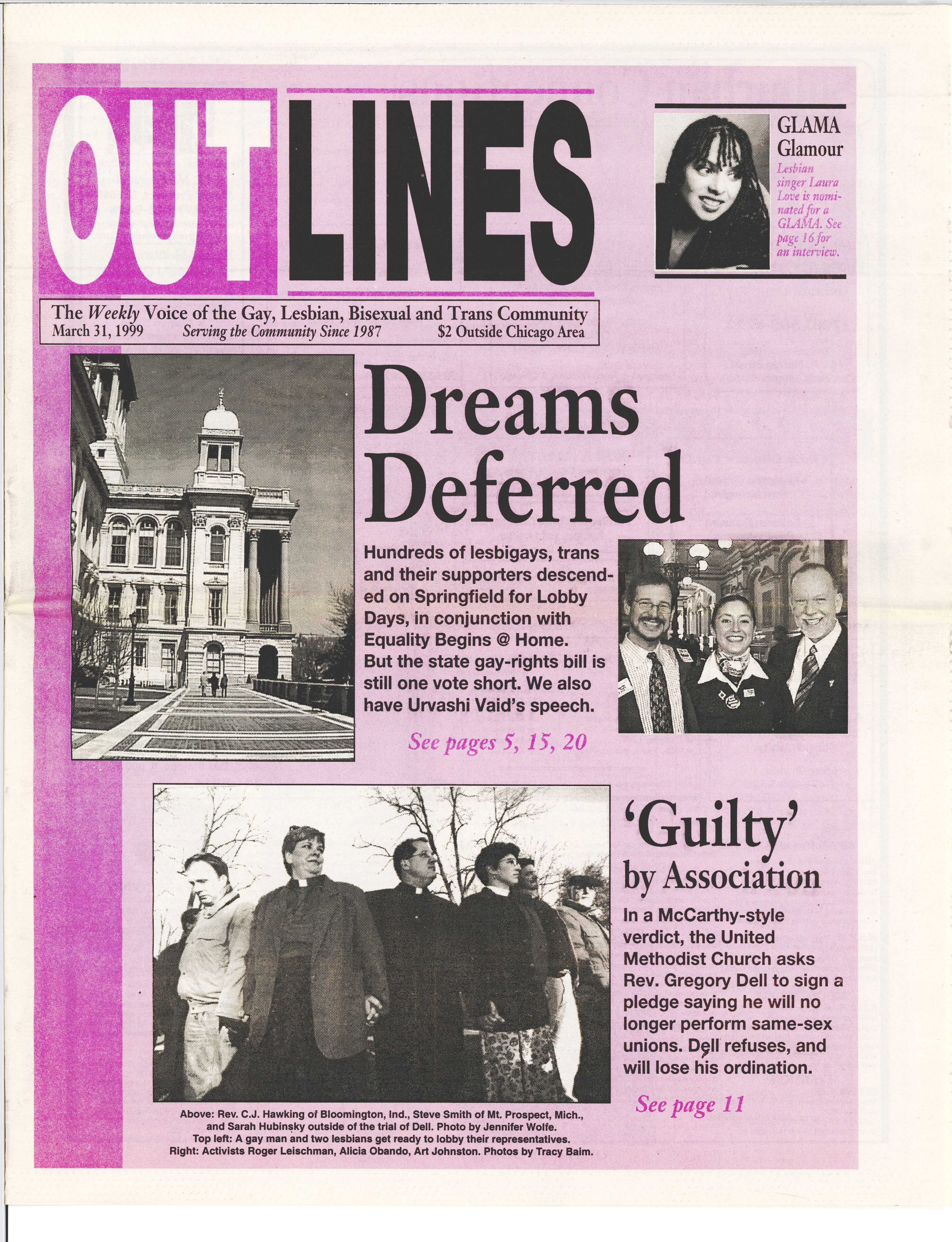 OUTLINES The Weekly Voice of the Gay, Lesbian, Bisexual and Trans Community  March 31, 1999 Serving the Community Since 1987