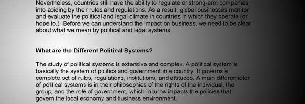 impact of political and legal environment on business