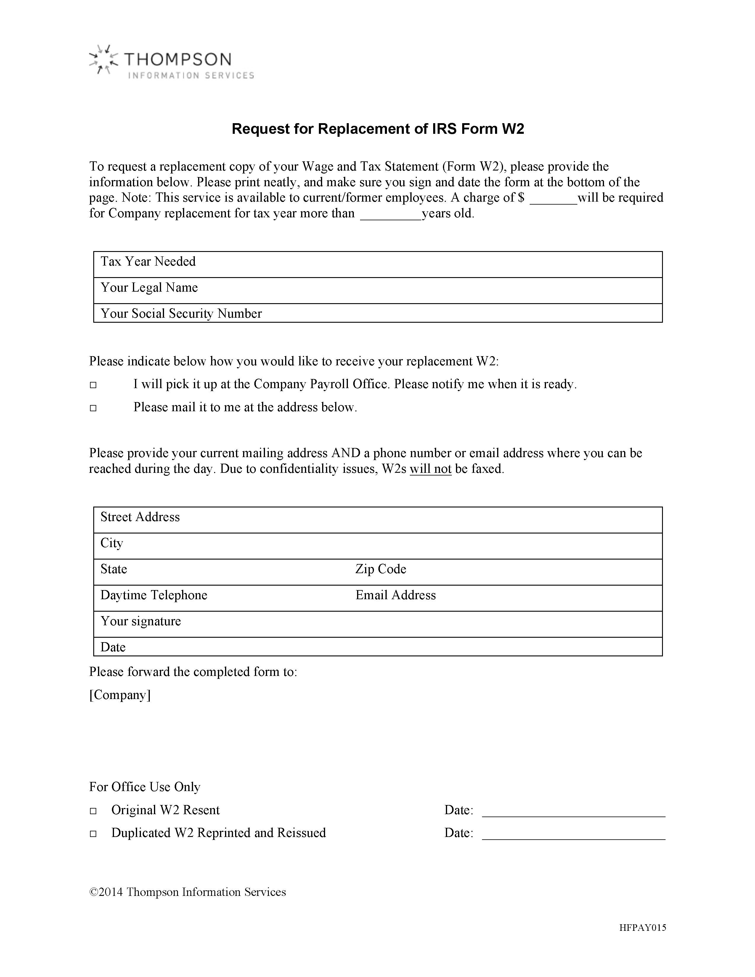 w2 form replacement  Request for Replacement of IRS Form W11   Alexander Street, a ...