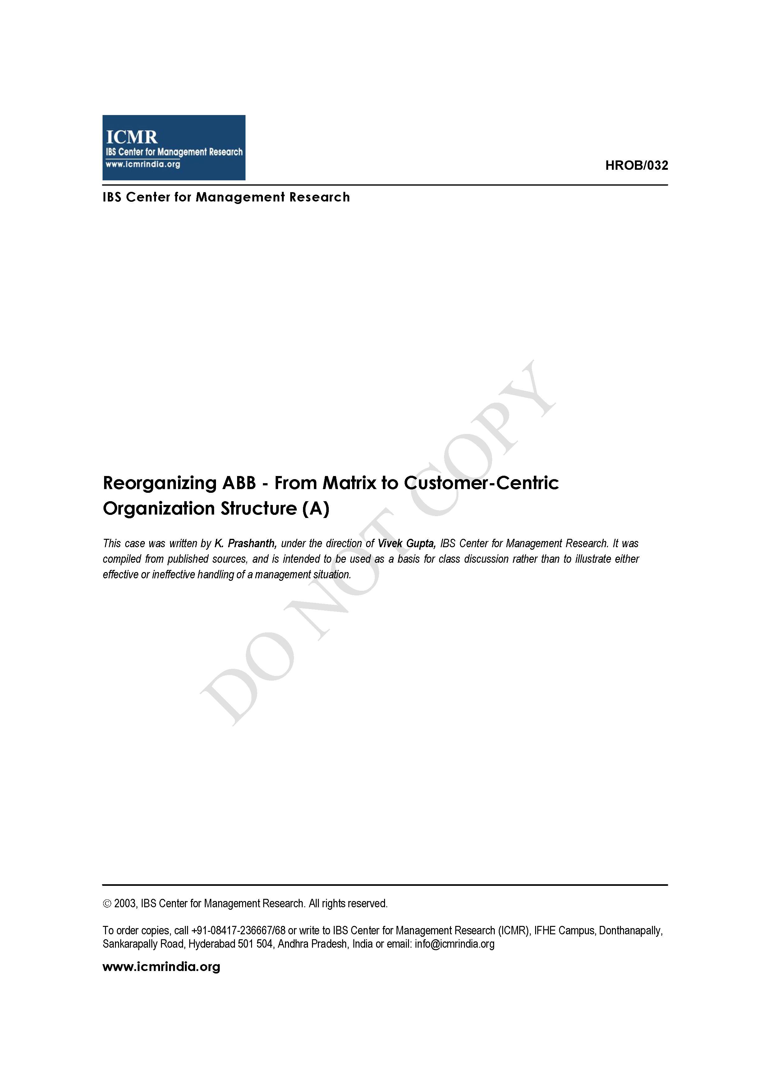 Reorganizing ABB - From Matrix to Customer-Centric