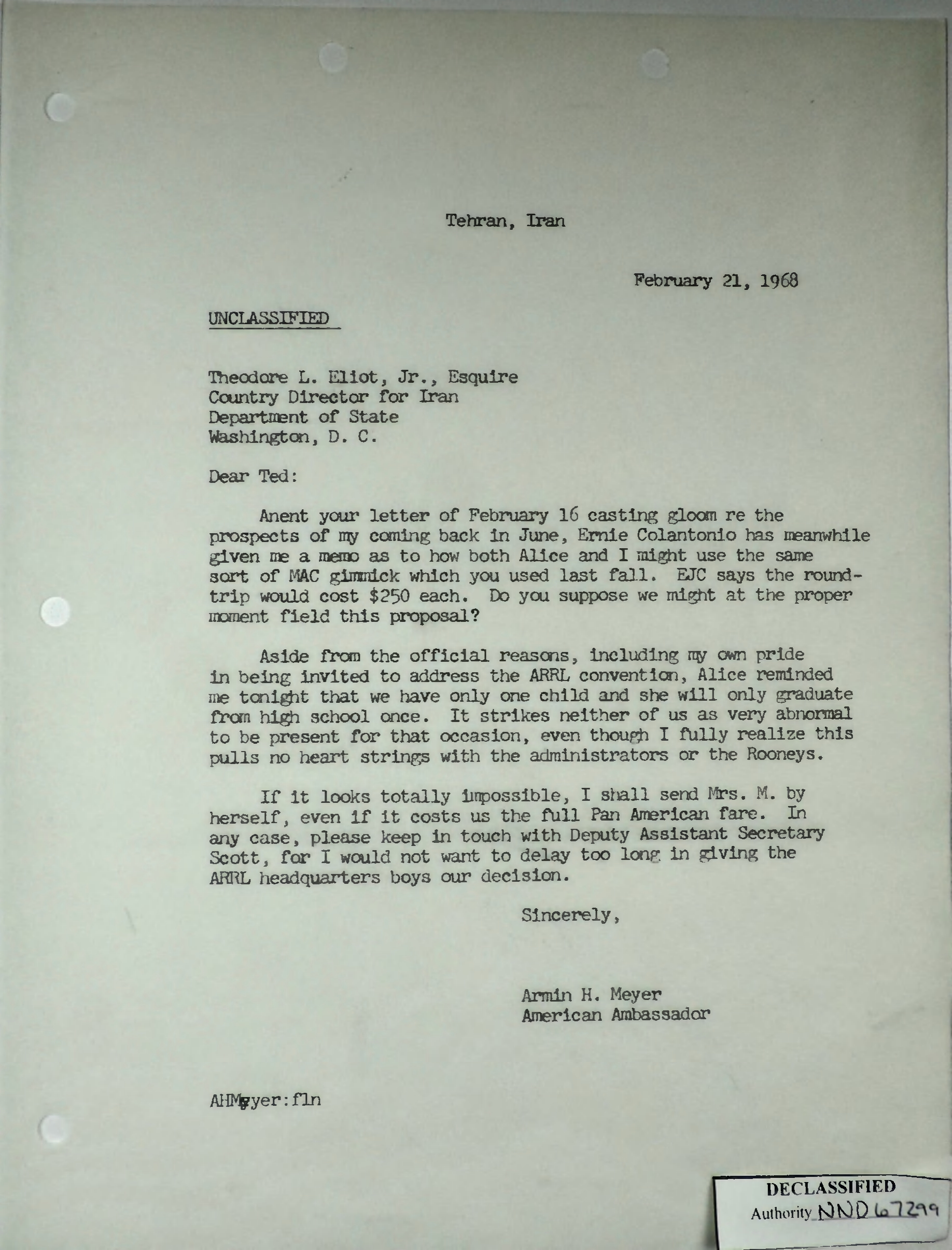 Letter from Armin H  Meyer to Theodore L  Eliot, Jr , February 21
