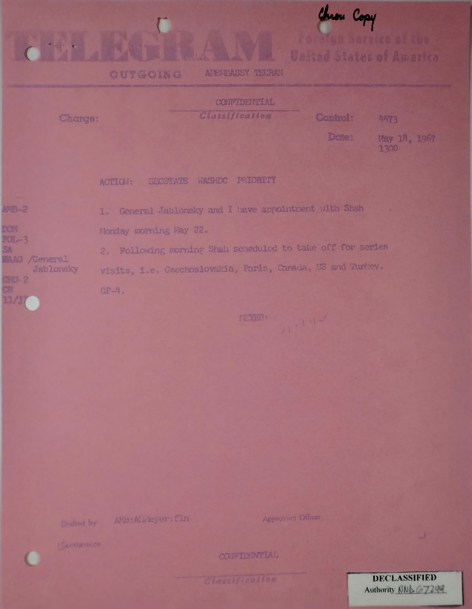 Telegram from Armin H  Meyer to Secretary of State Rusk re