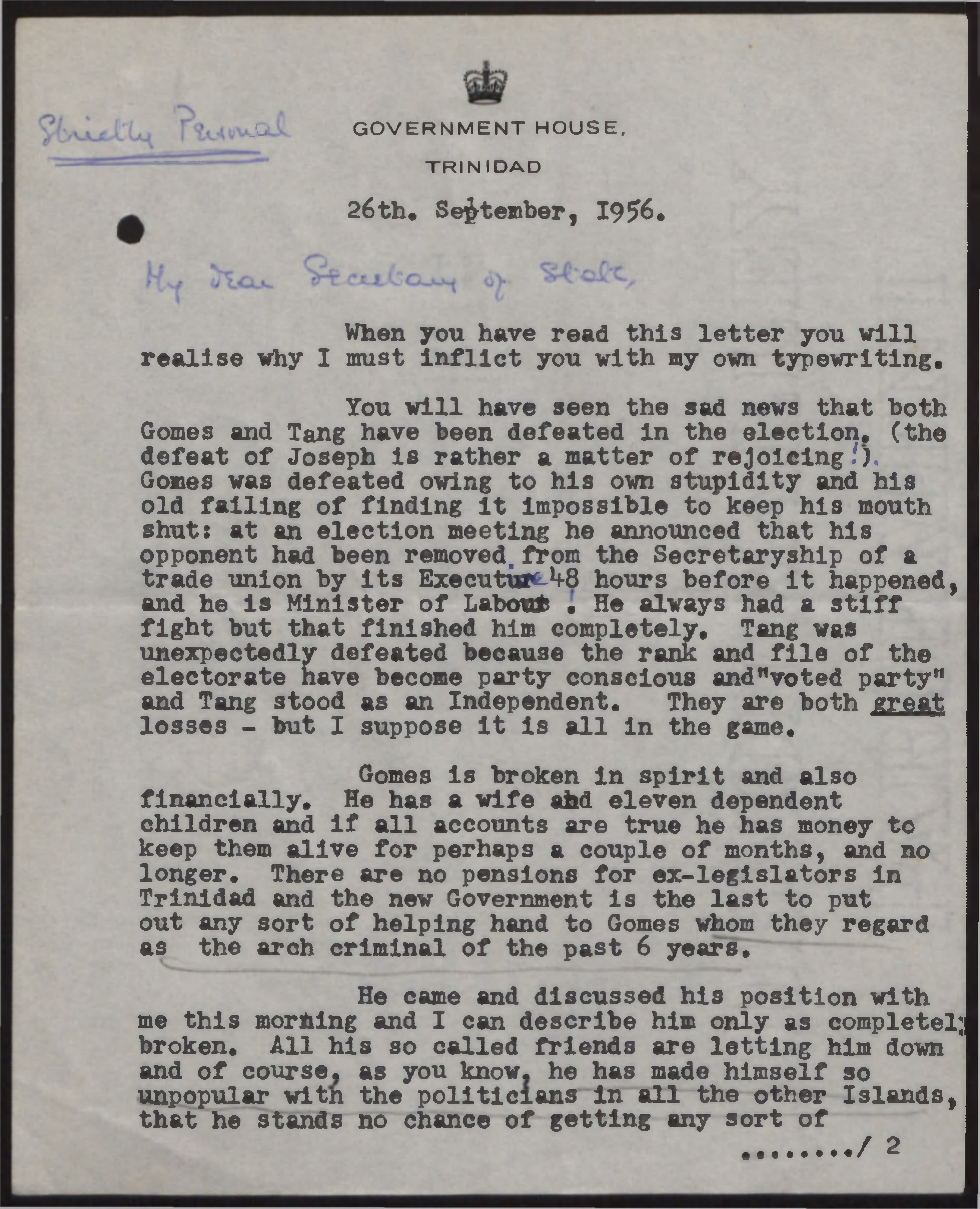 Letter from Edward Beetham to Secretary of State re: Albert