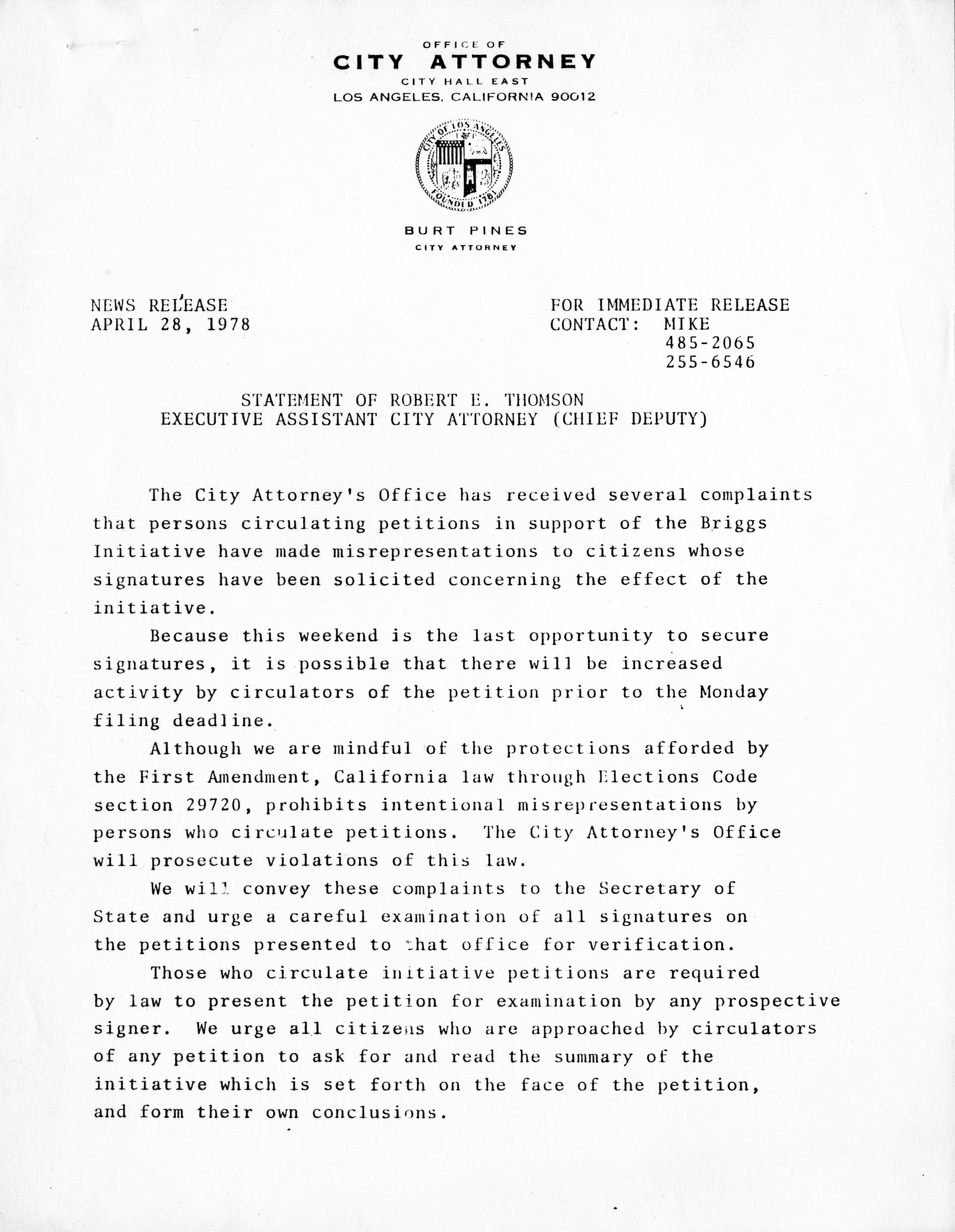 News Release April 28, 1978: Statement of Robert E  Thomson