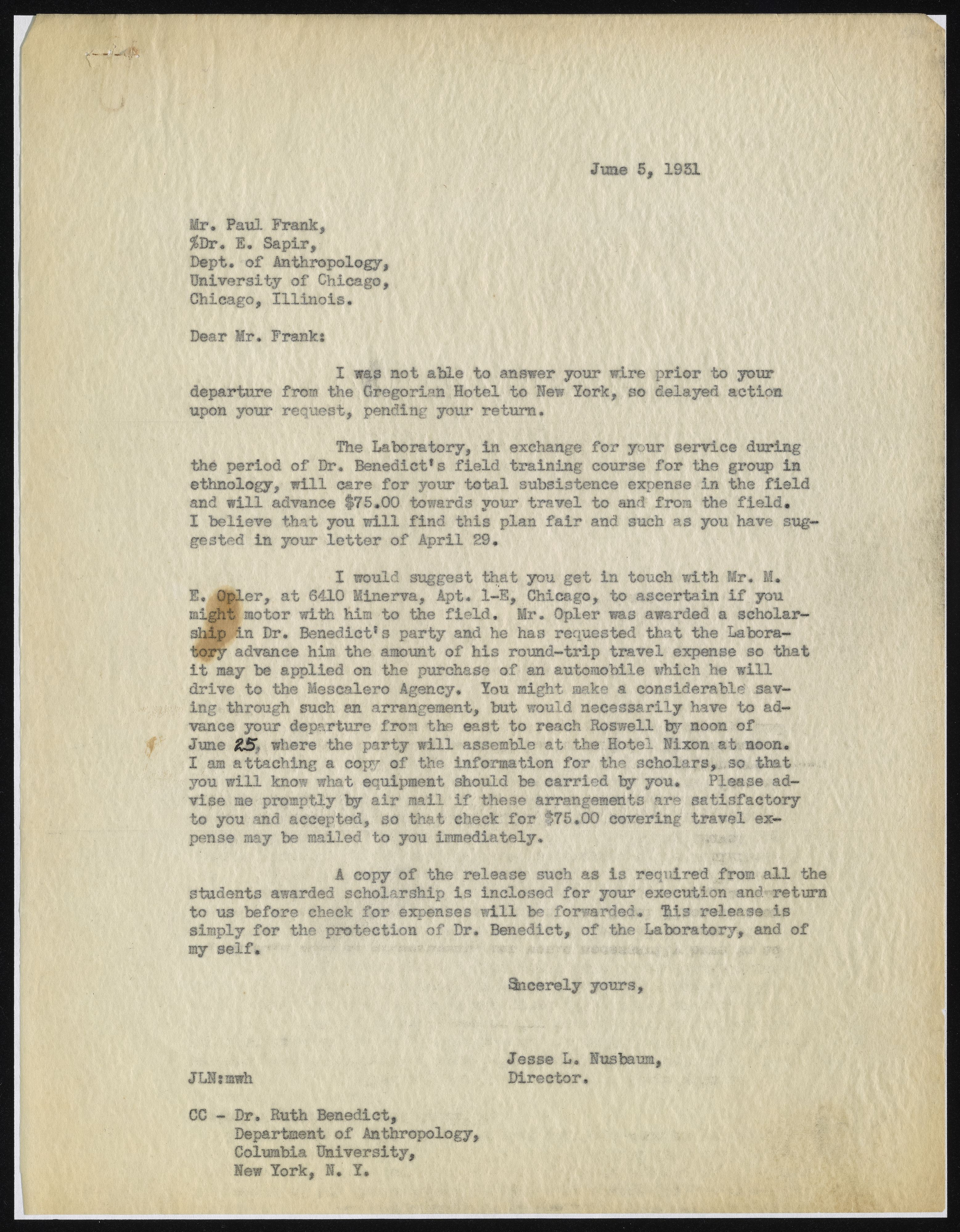 Letter from Jesse Nusbaum to Paul Frank, June 5, 1931 | Alexander