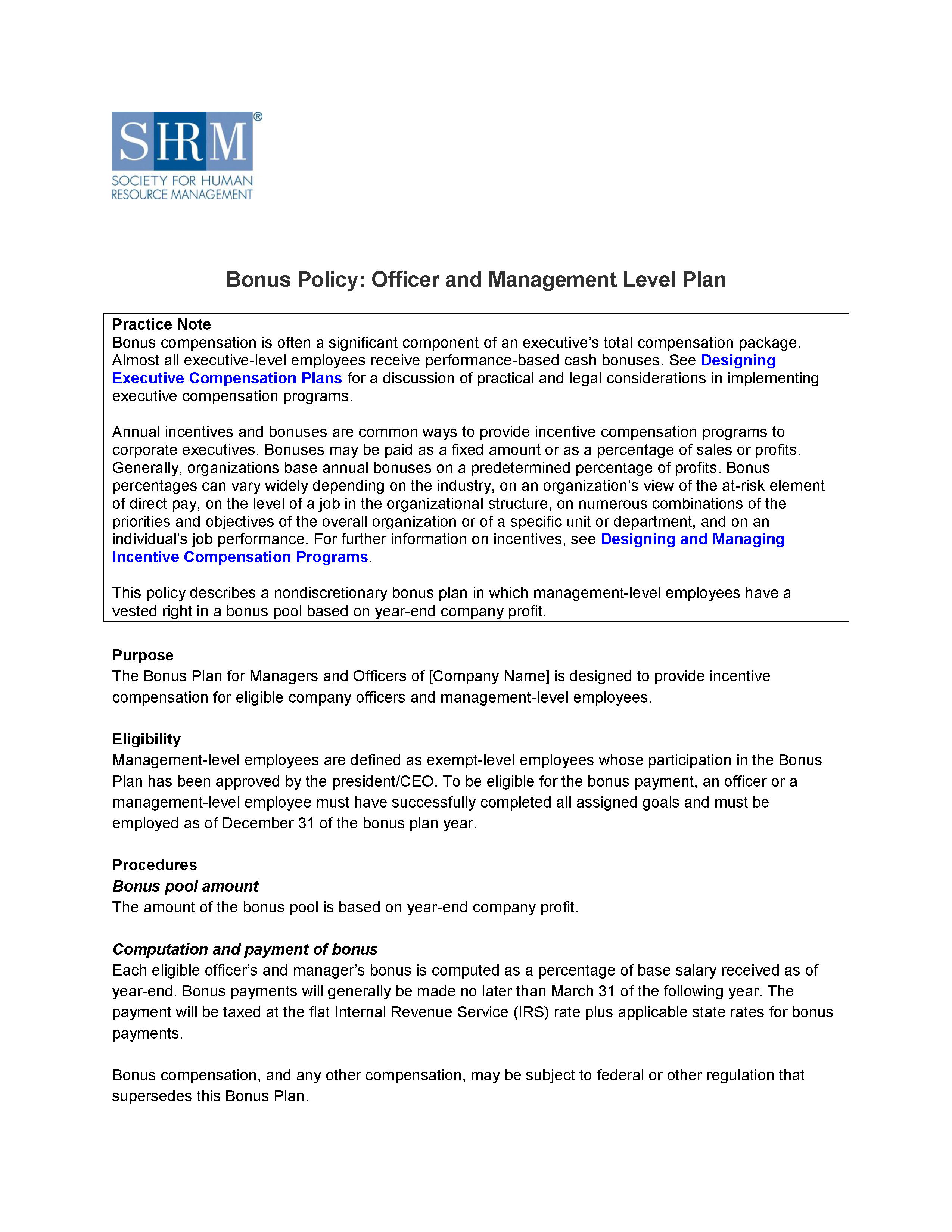 Luxury Incentive Compensation Plan Template Ideas - Professional ...