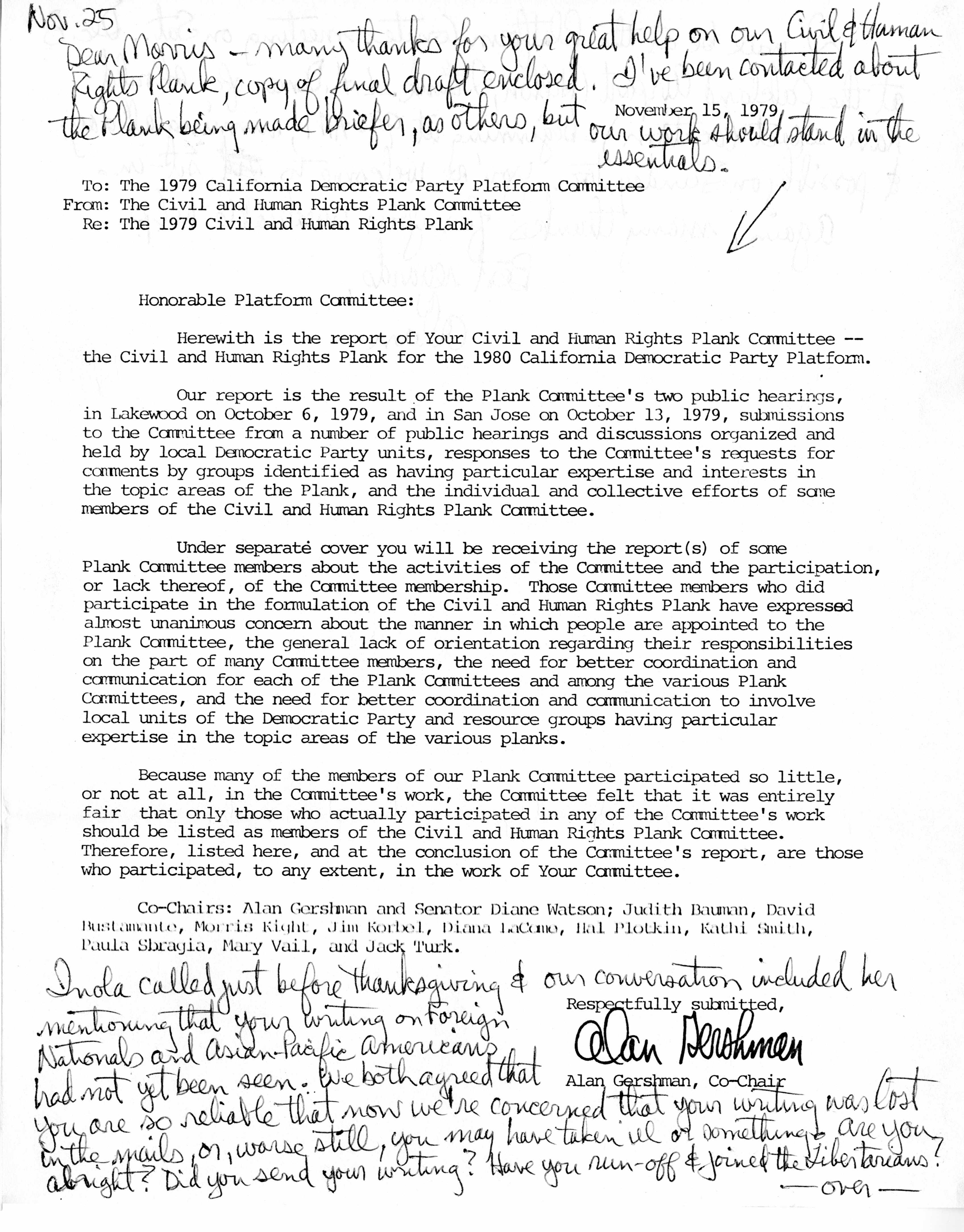 Letter From The Civil And Human Rights Plnk Committee To The