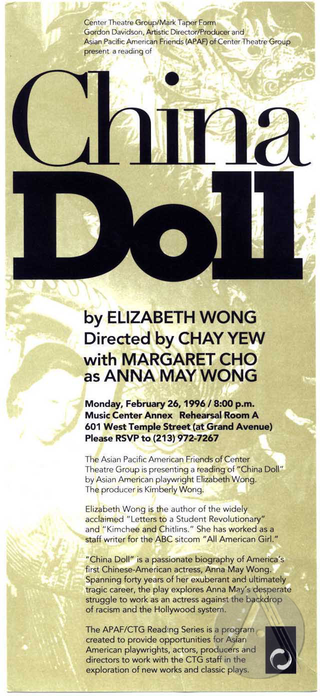 Handbill for China Doll by Elizabeth Wong at Music Center