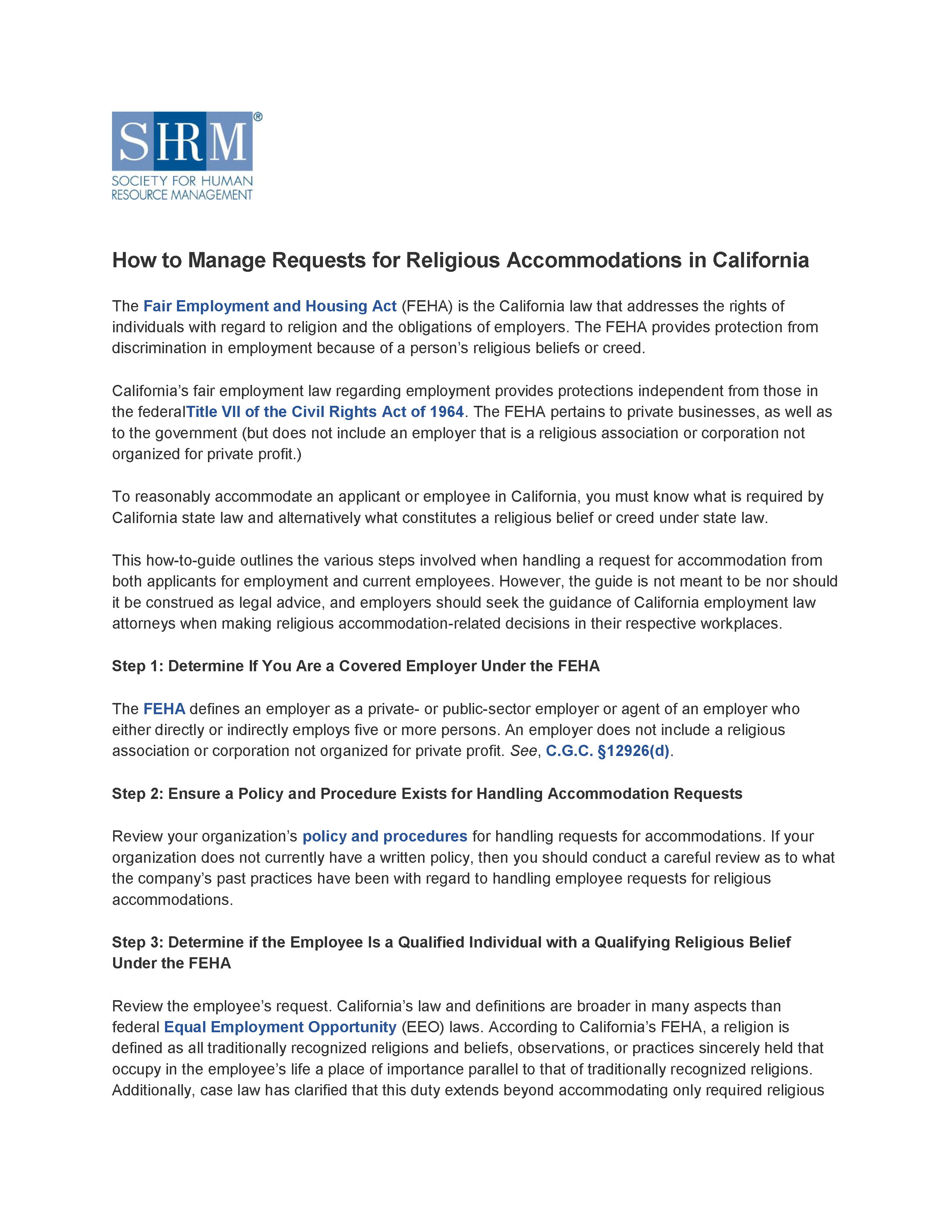 How to Manage Requests for Religious Accommodations in