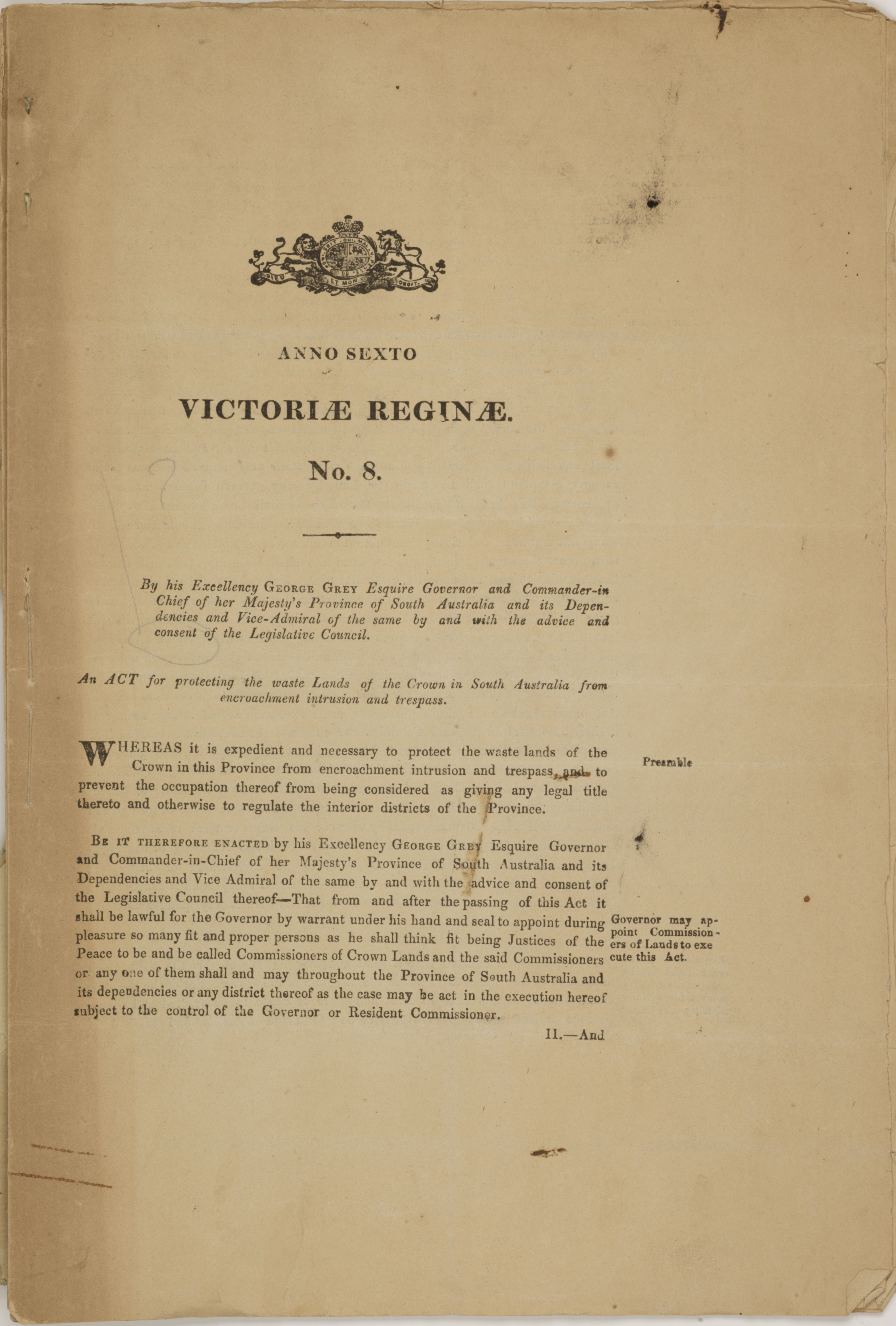 Anno Sexto Victoriae Reginae: No  8: An Act for protecting