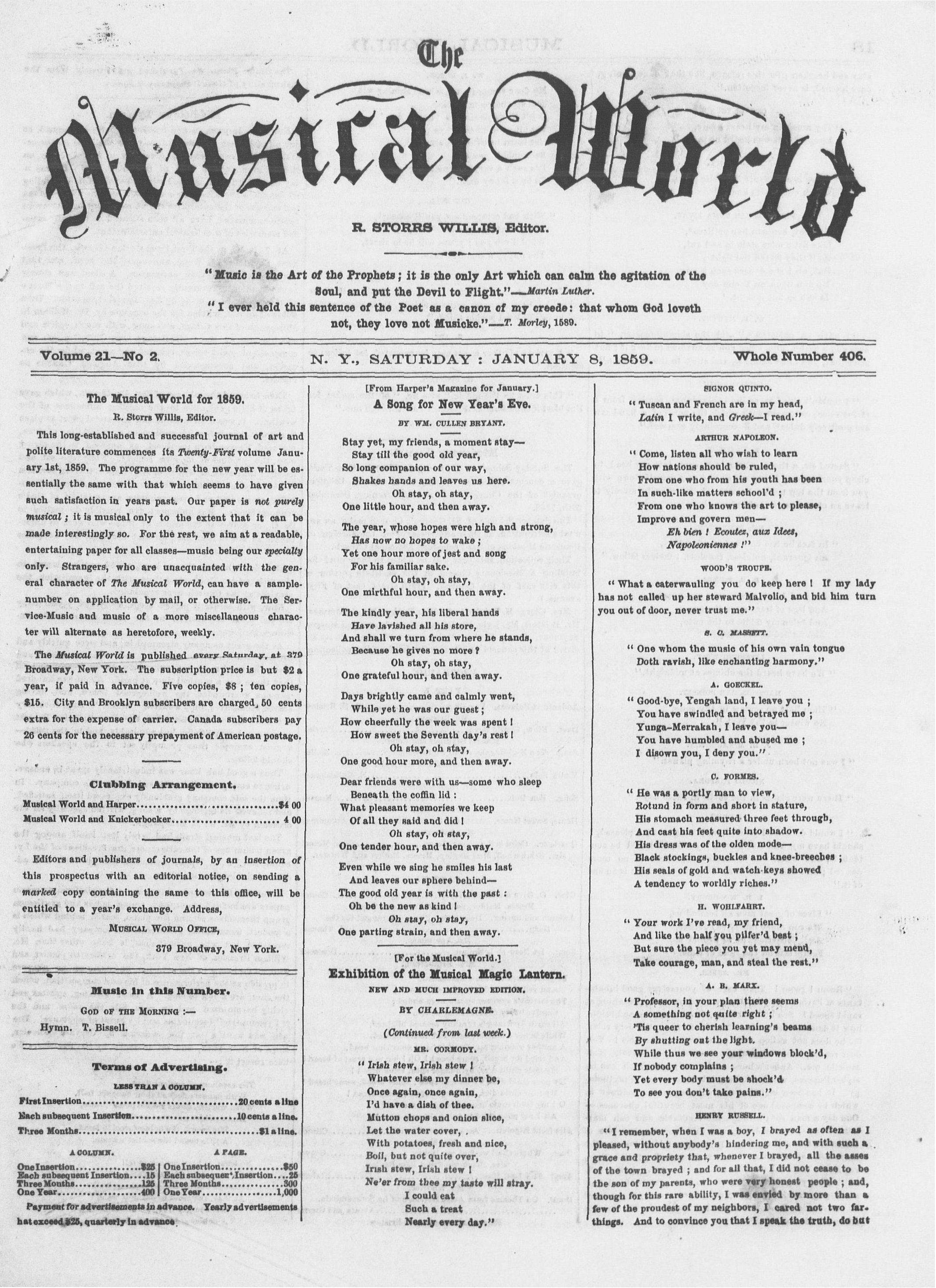 The Musical World, Vol  21, no  2, January 8, 1859 | Alexander
