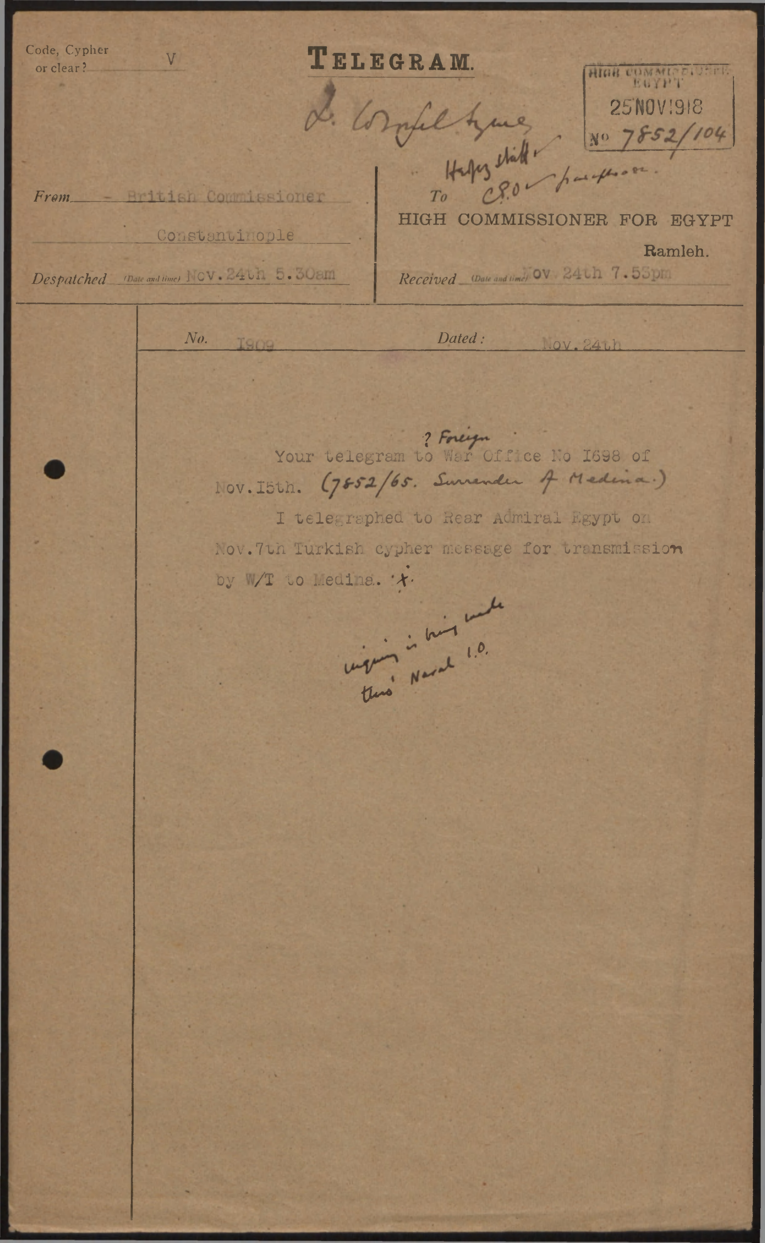 Telegram from British Commissioner, Constantinople to High