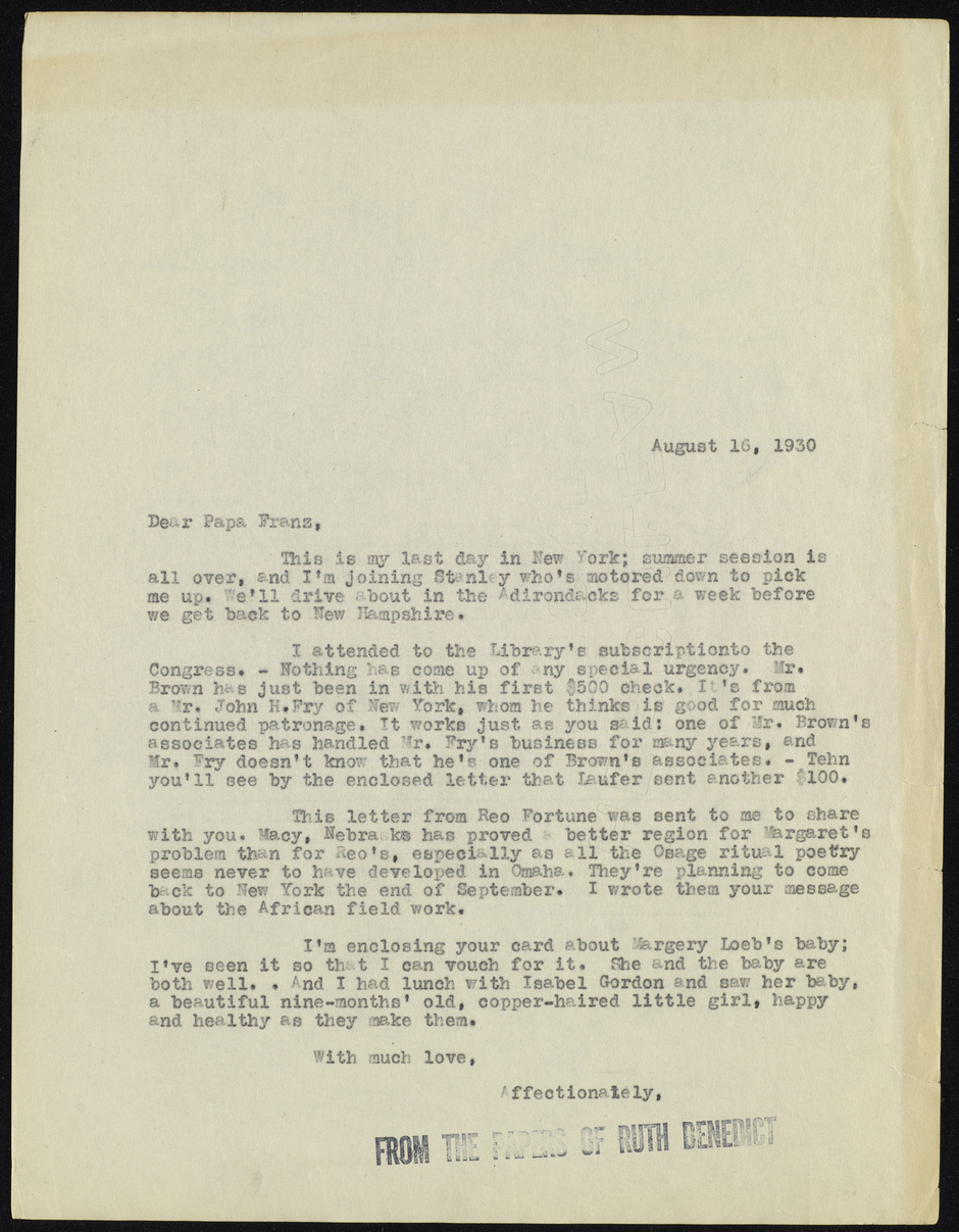 Letter from Ruth Benedict to Papa Franz, August 16, 1930