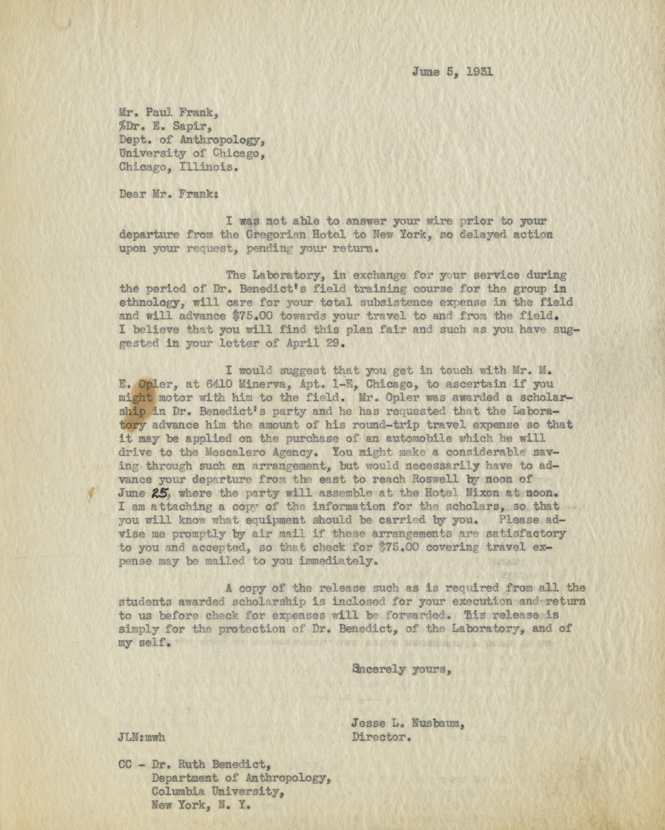 Letter from Jesse Nusbaum to Paul Frank, June 5, 1931