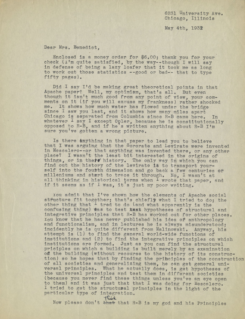 letter from sol tax to ruth benedict may 4 1932 alexander street